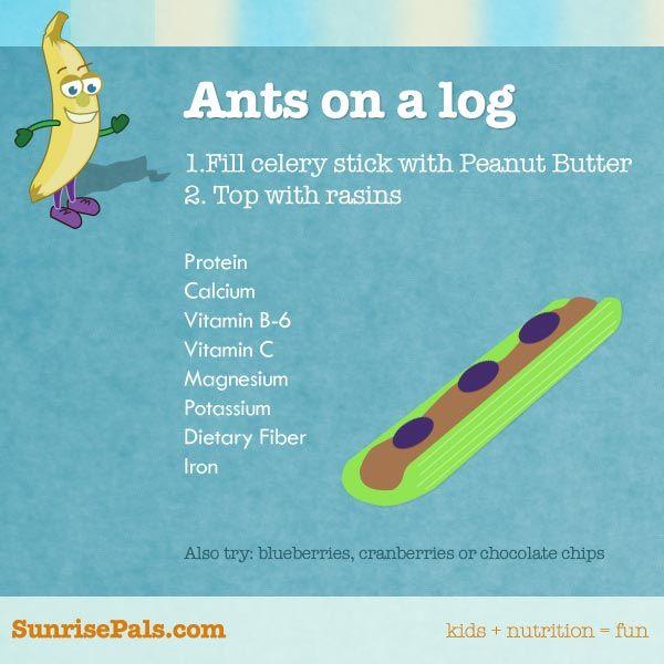 Ants on a log, SunrisePals.com on Pinterest