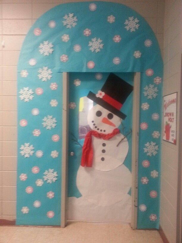 Winter classroom door decorations for 3d snowman door decoration