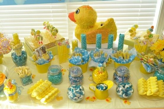 rubber ducky themed table baby shower ideas pinterest