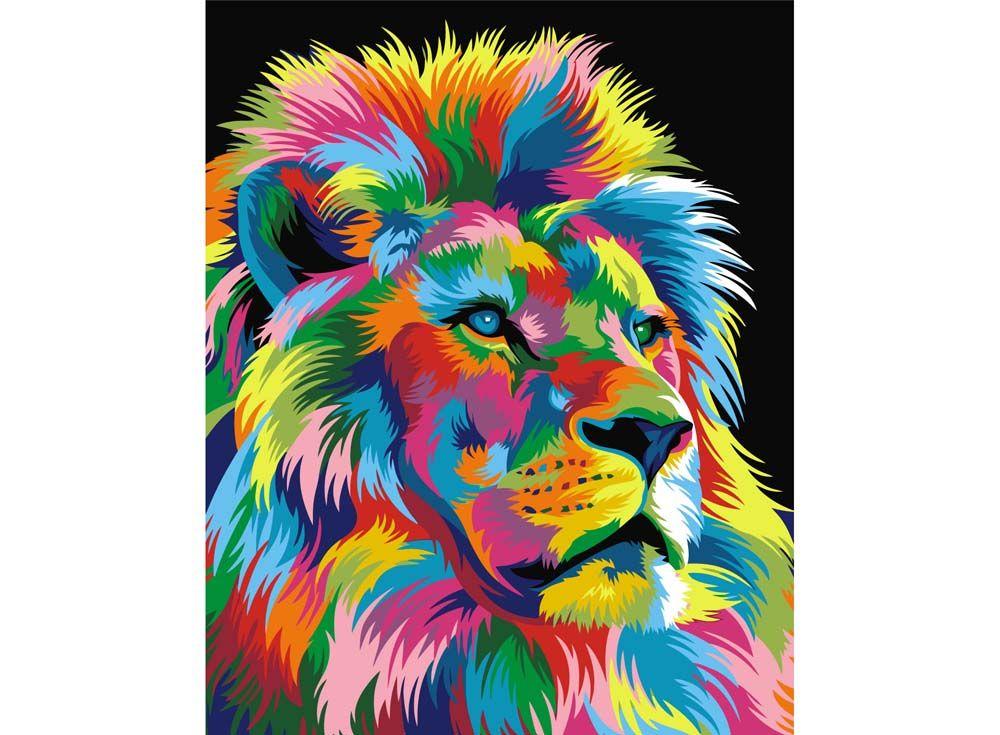 Радужный лев раскраска по номерам