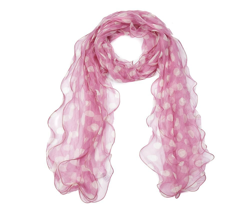 frilled pink silk scarf with white spots scarf