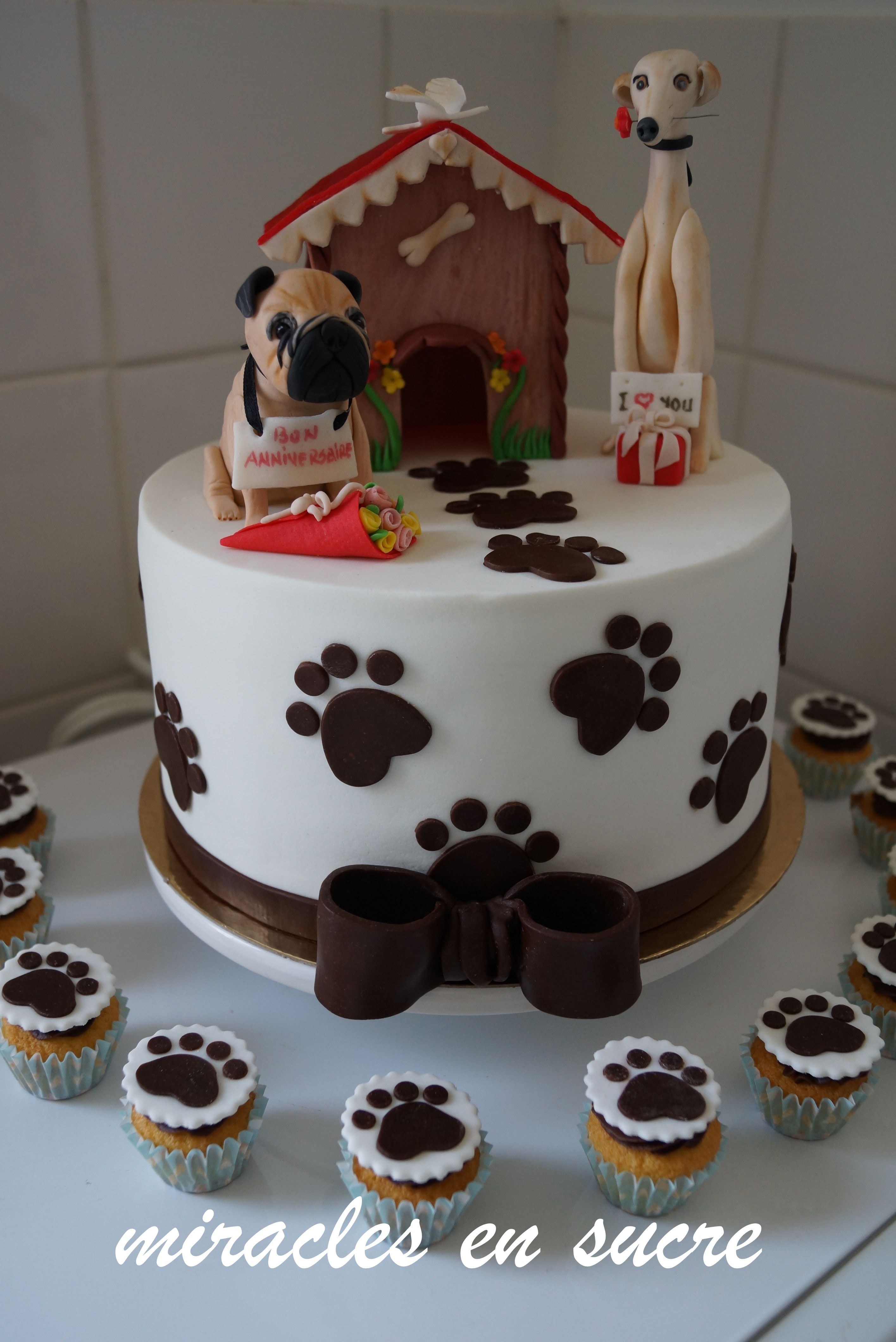 Cake Design Dog : carlin and levrier fondant cake topper My pins Pinterest