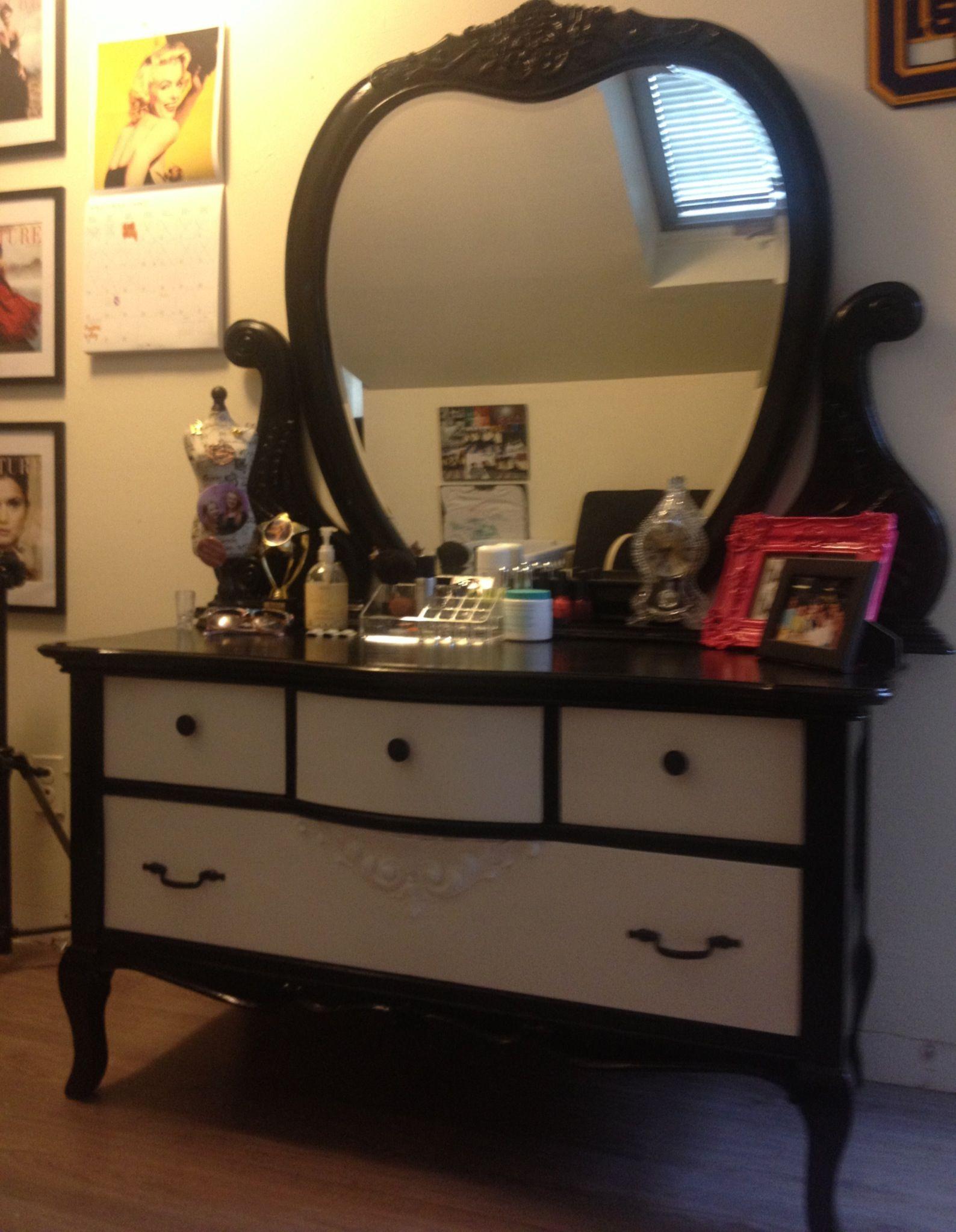 Black and white bedroom dresser vanity
