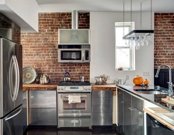Exposed Brick Kitchen Kitchens Pinterest