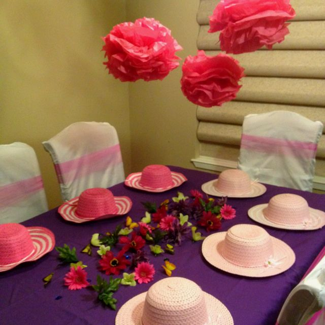 Decorate your own tea party hat table tea party pinterest for How to decorate a hat for a tea party