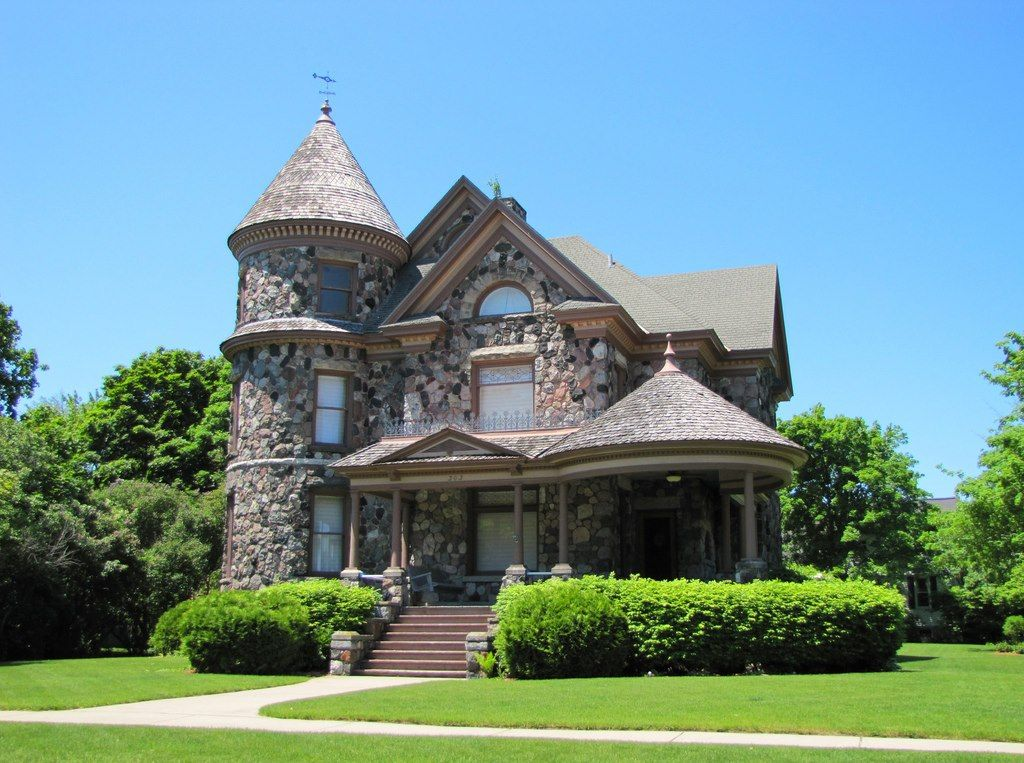 Queen anne made of stone michigan architecture design for Victorian home designs