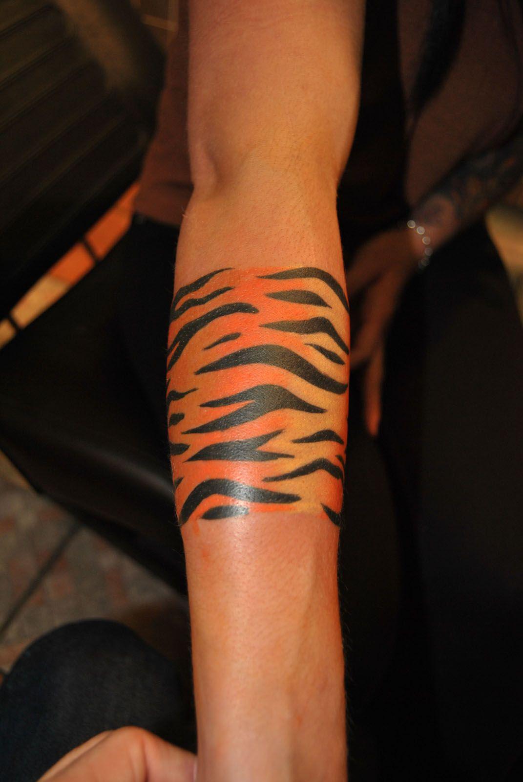 Tiger Stripes Tattoo on Thigh Tiger Stripe Tattoo