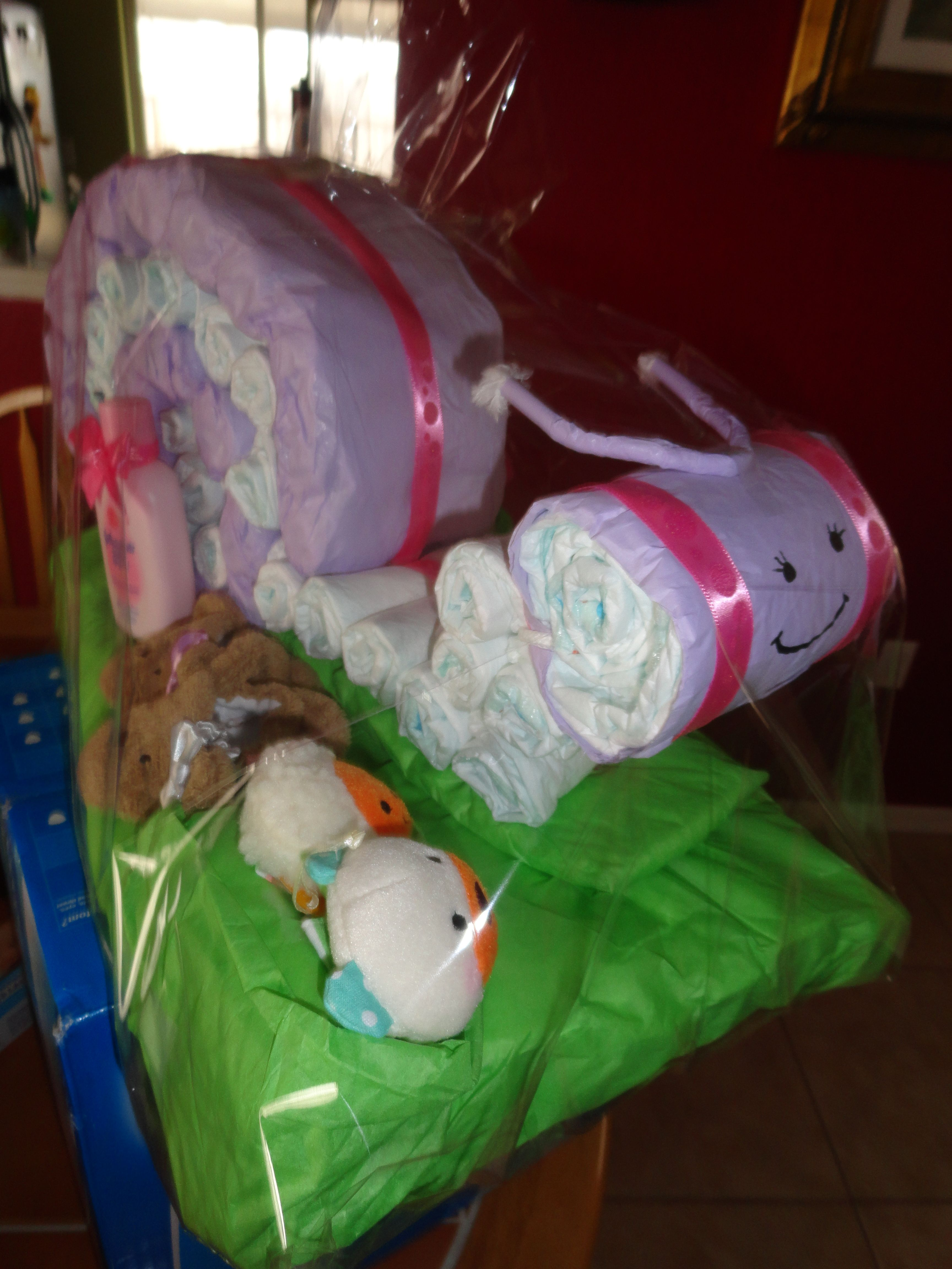 Snail diaper cake for twin girls diaper cakes for baby shower pin