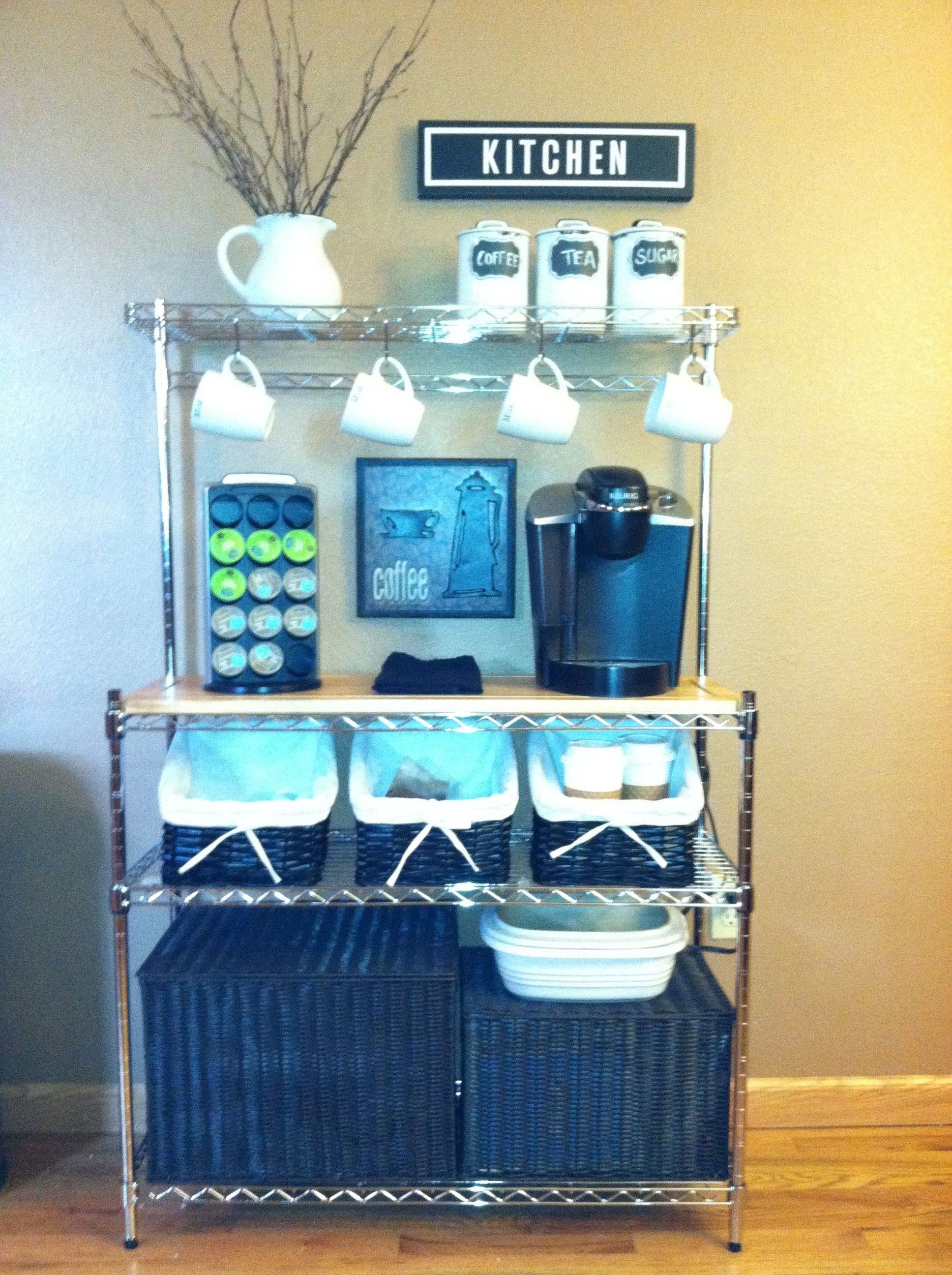 Coffee bar diy bakers rack for the home pinterest for Coffee rack diy