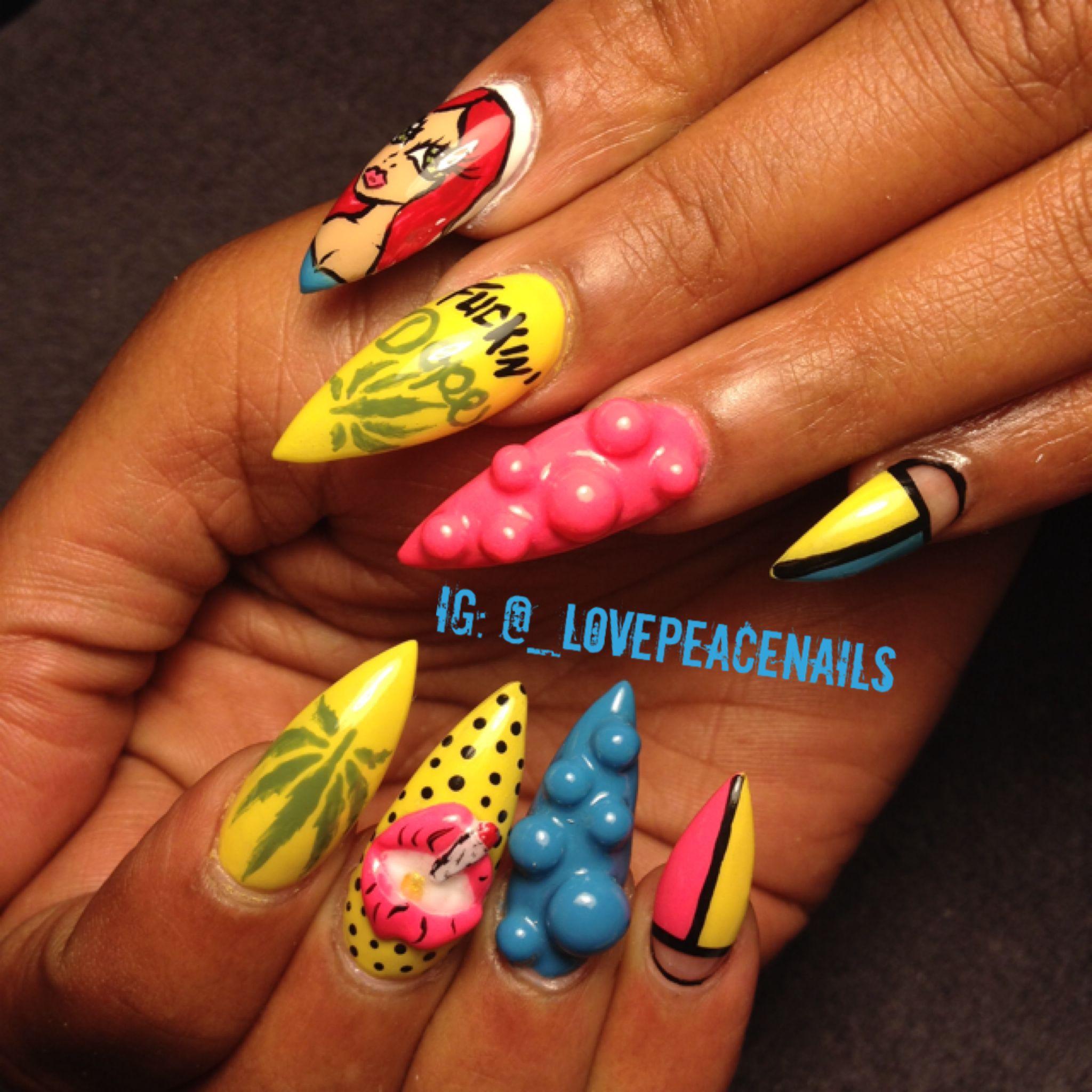 dope stiletto nails nail art pinterest