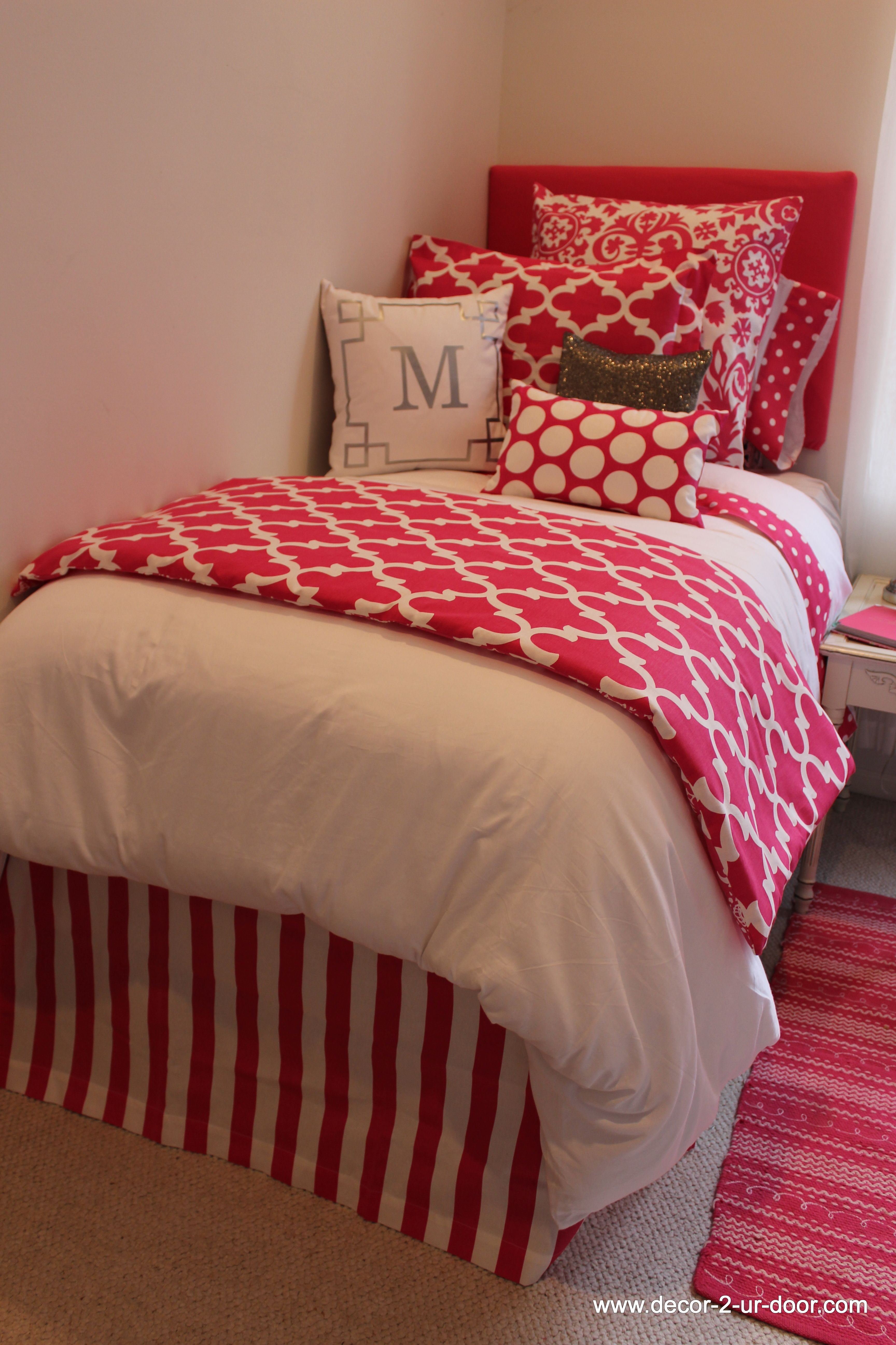 Pin by decor 2 ur door on 2014 dorm room designs pinterest - Hot pink and blue bedding ...