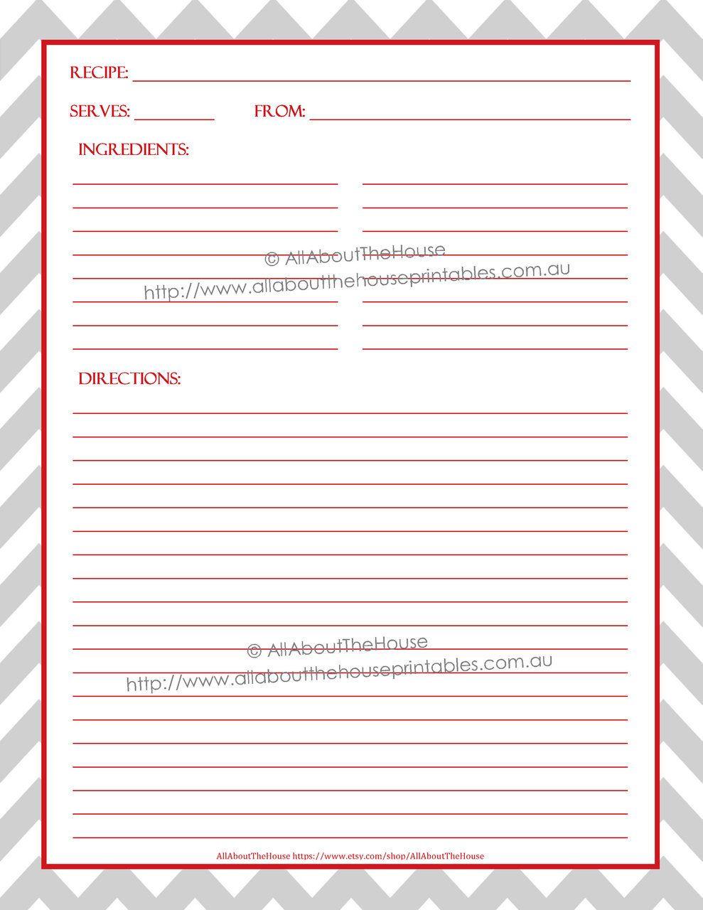 Full Page Recipe Templates Binder Free Editable Recipe Card