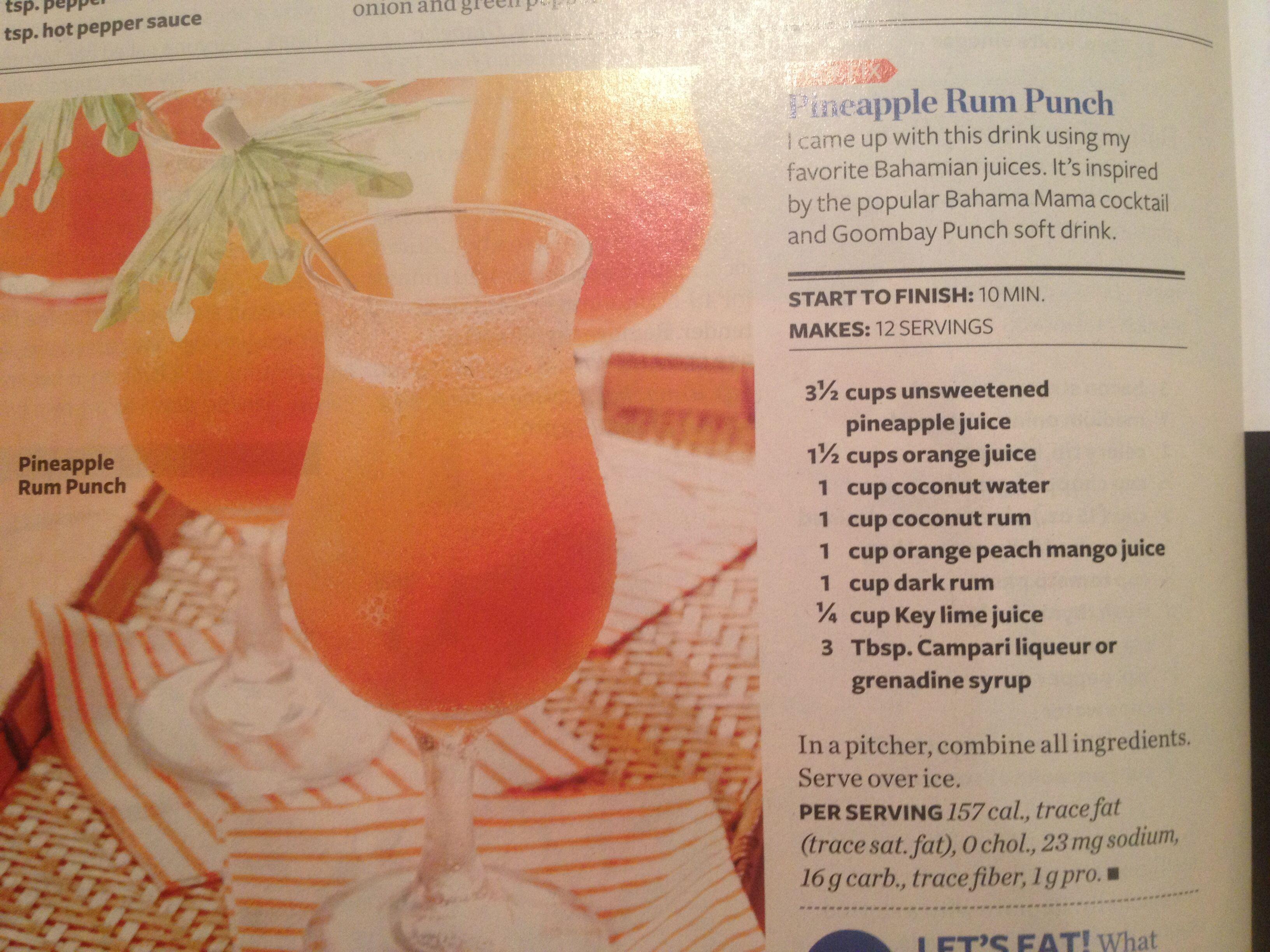 Pineapple rum punch | Drinks | Pinterest