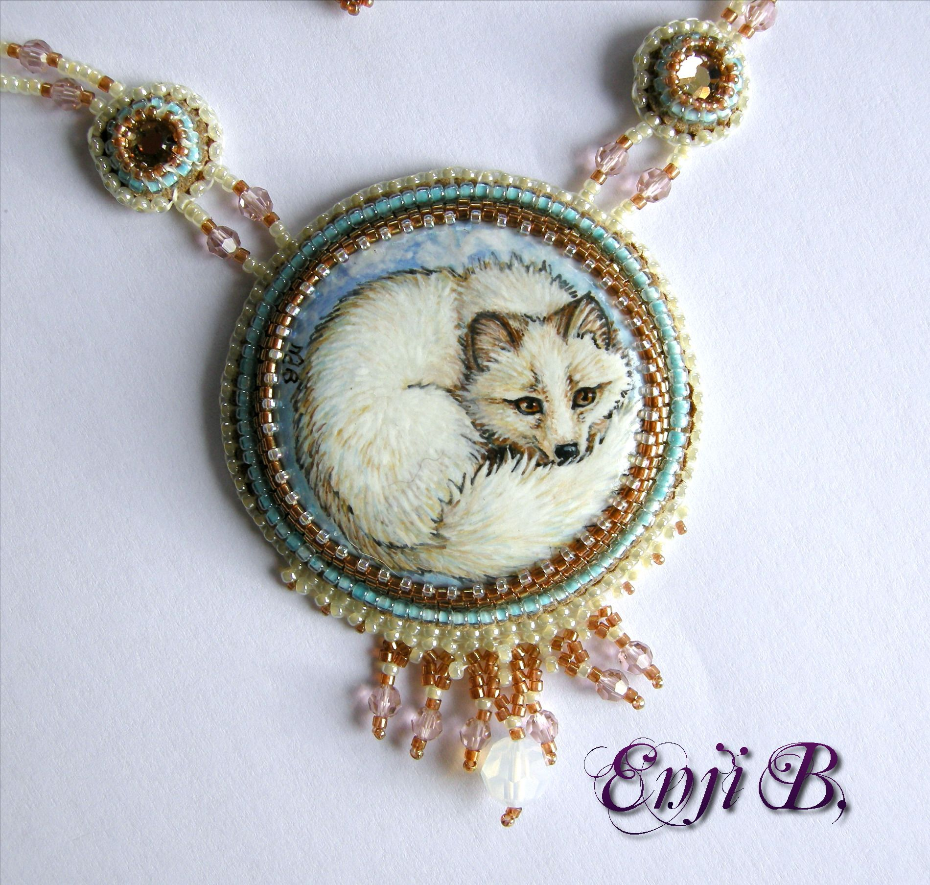 painted cabochon by myself beadwork bead