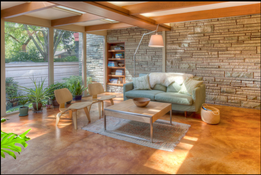 Stained Concrete Living Room Floor For The Home Pinterest