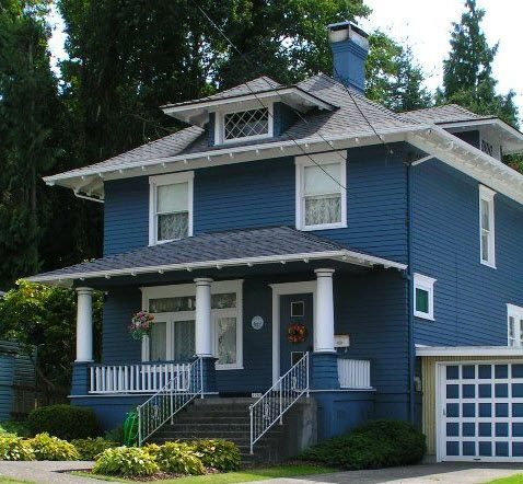 Blue bungalow exterior bungalow paint colors pinterest for Bungalow paint schemes