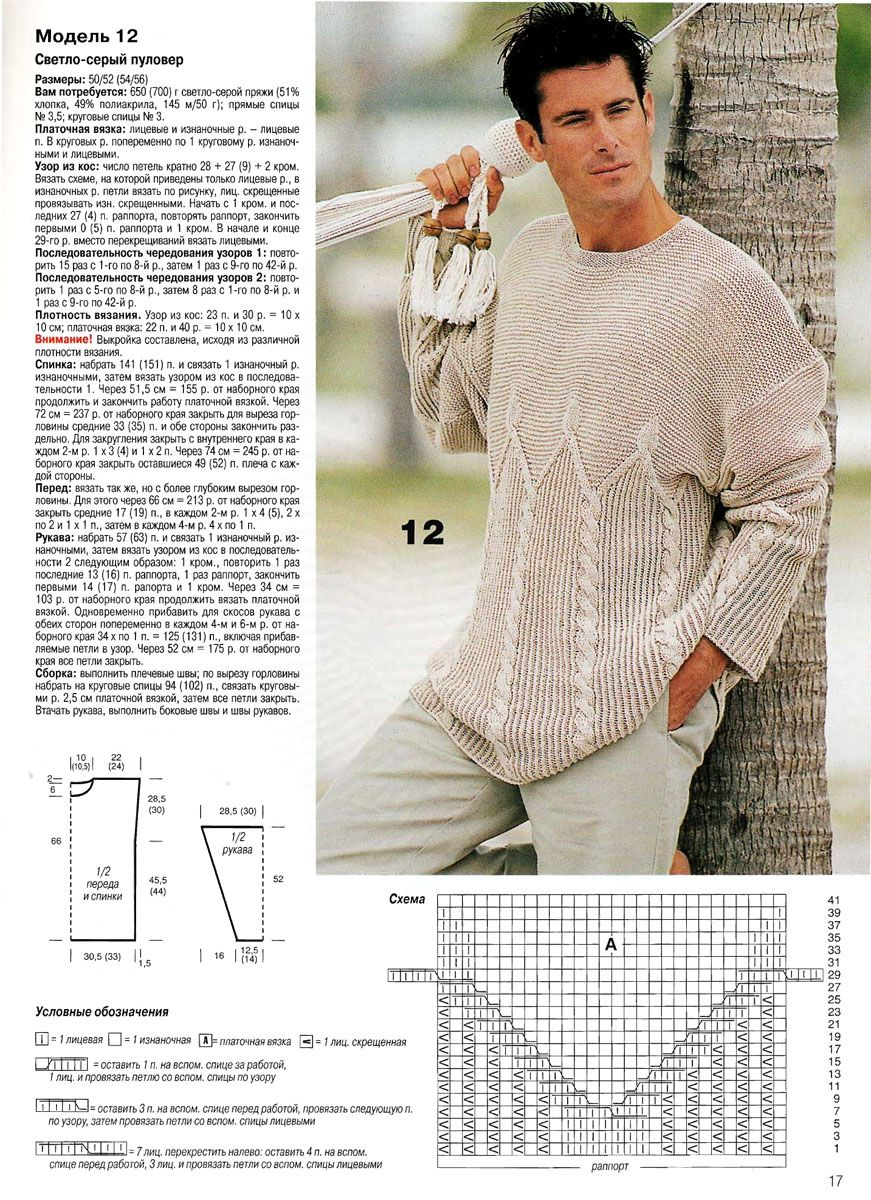 Для мужчин вязание : 25 моделей со схемами, описанием и видео мк для 46