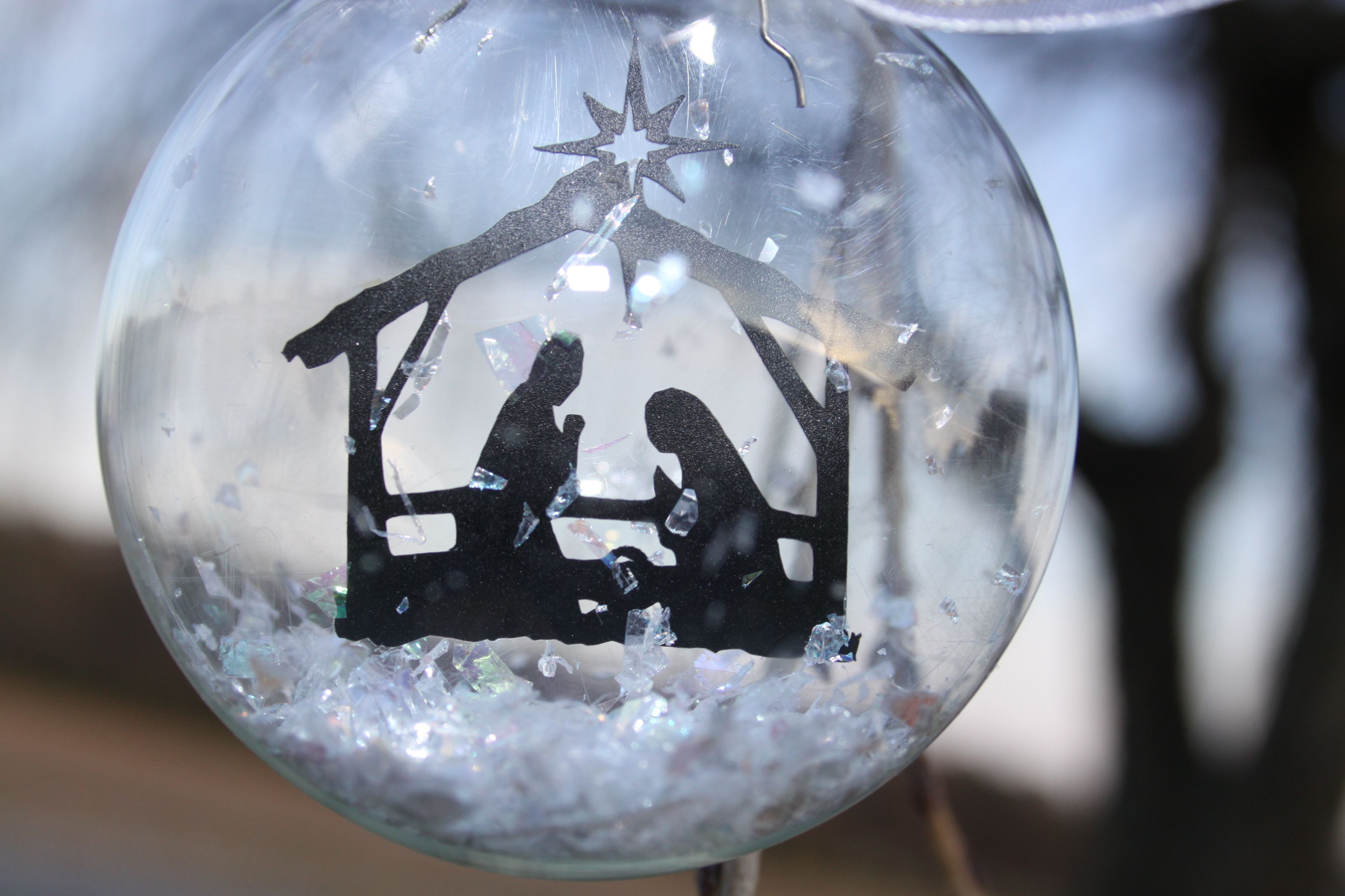 Christmas Ornaments Clear Glass : Clear glass nativity ornament christmas