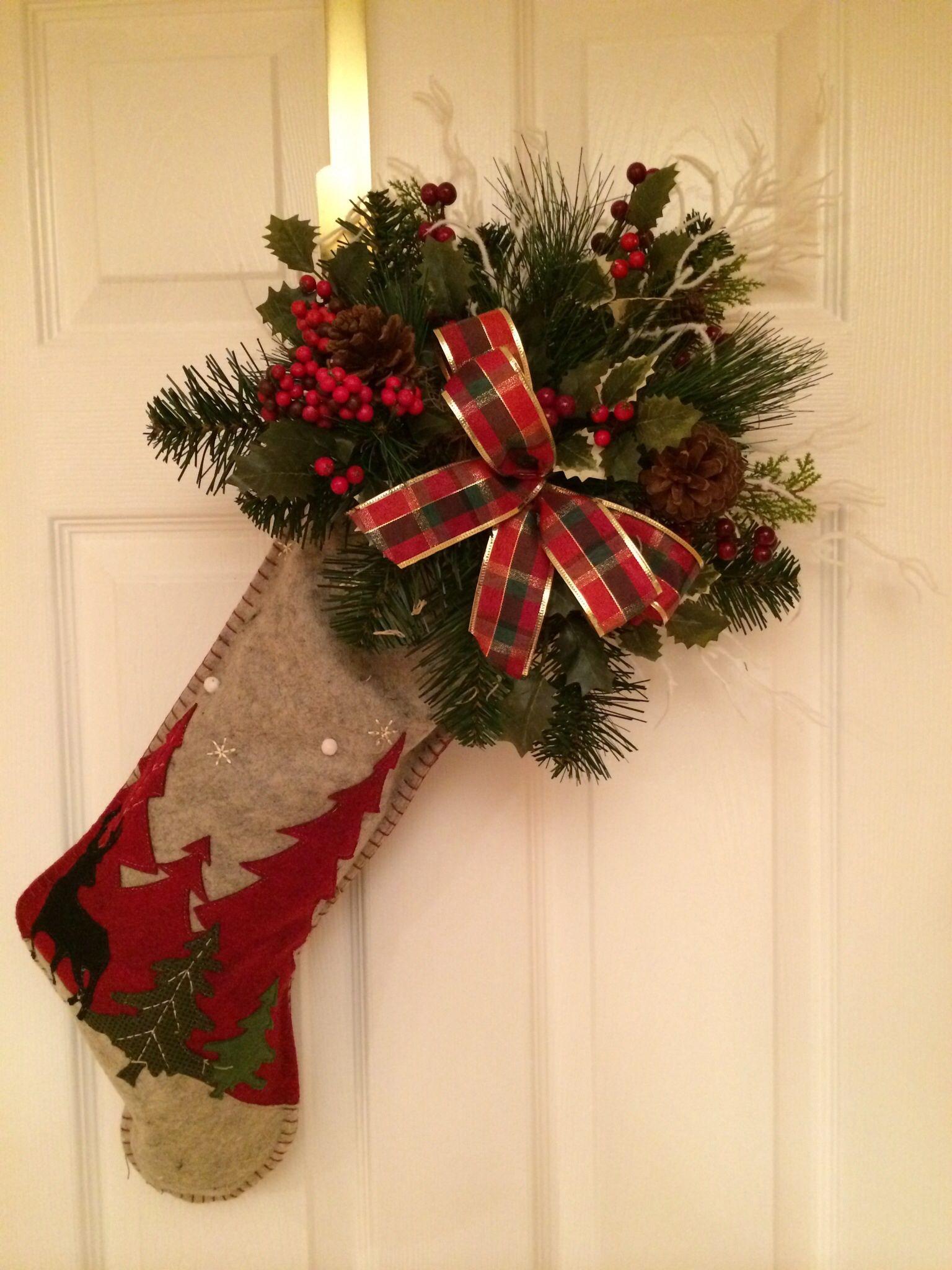 Rustic Christmas Stocking Decoration Christmas Pinterest