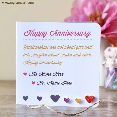 Free Anniversary Ecard Editing Write Cute Couple Name On If You Want To Wish Anyone A Happy