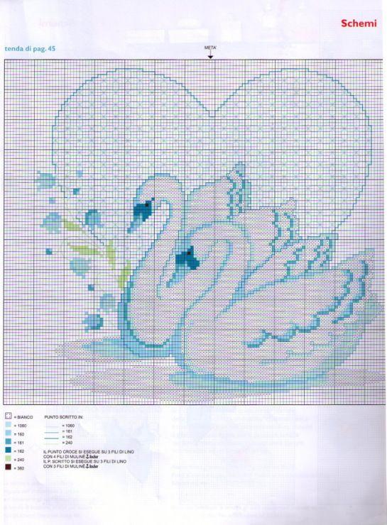 Схема вышивки крестом два лебедя