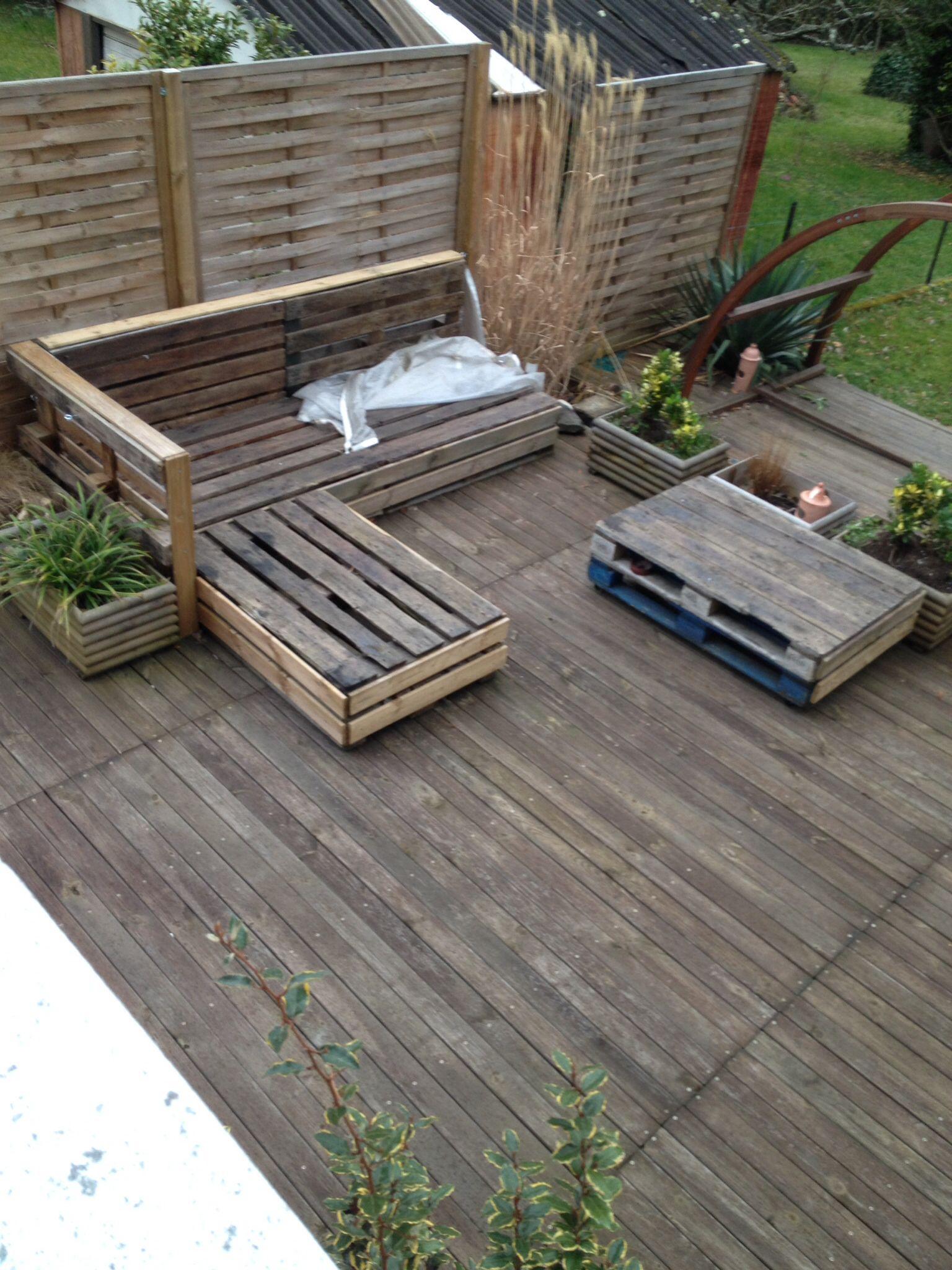 Salon de jardin fait avec des palettes - Salon de jardin avec palette en bois ...