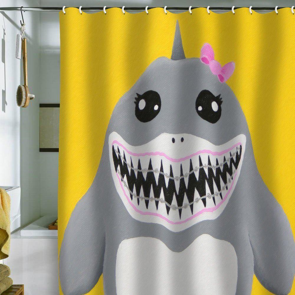 Shark shower curtain bathroom decor pinterest