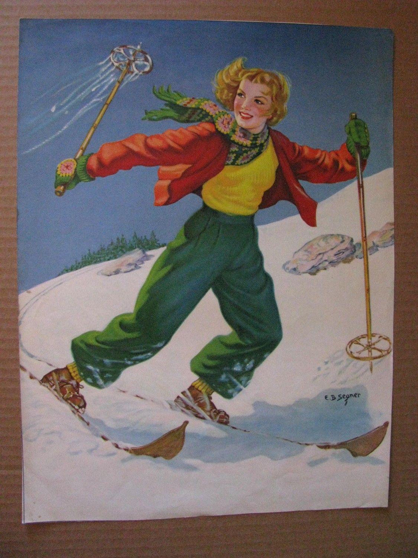 Vintage Calendar Art : Skimming the snow vintage calendar art pinterest