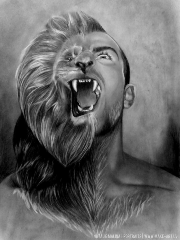 Half man half wolf face