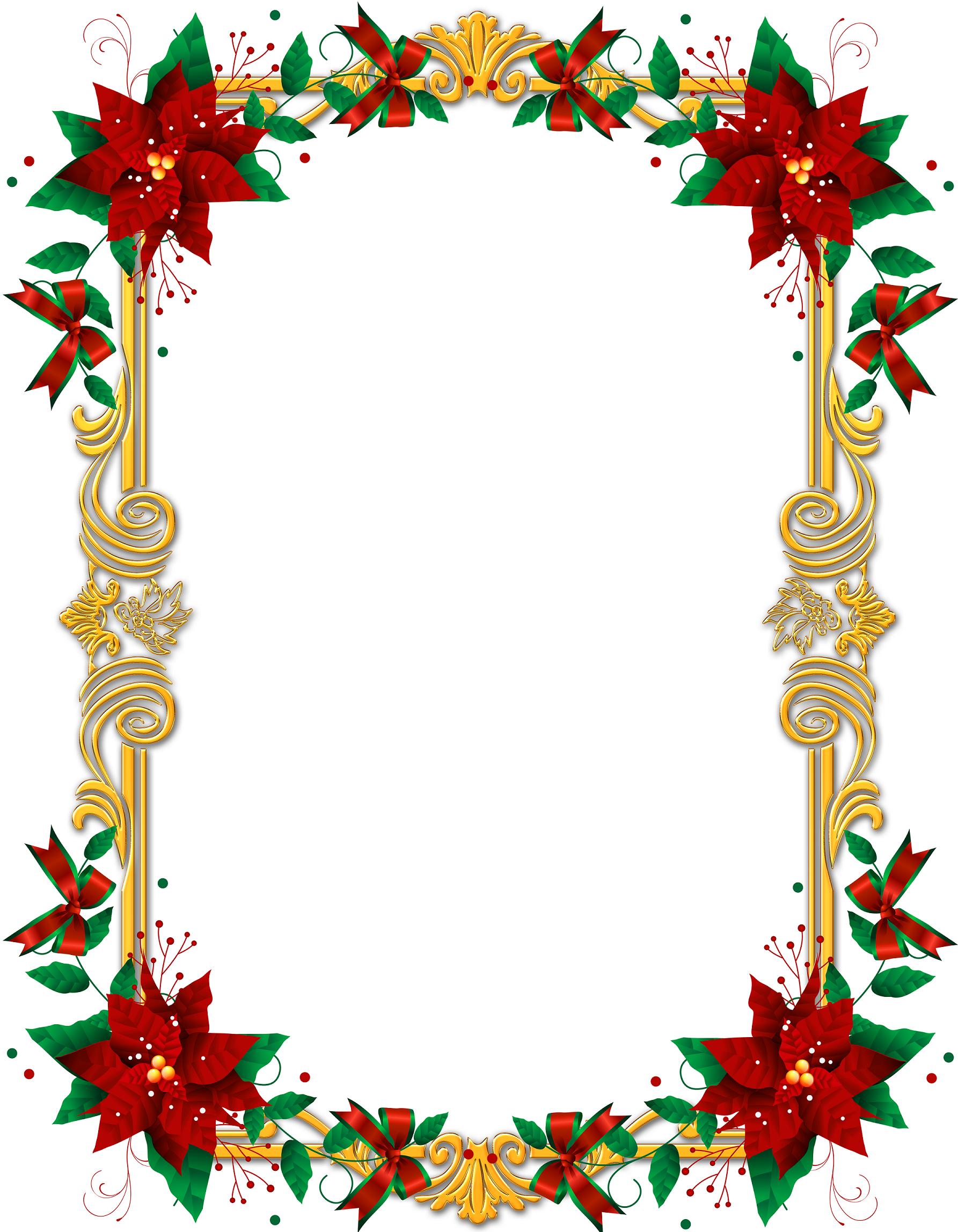 Christmas poinsettia frame christmas graphics for Poinsettia christmas tree frame