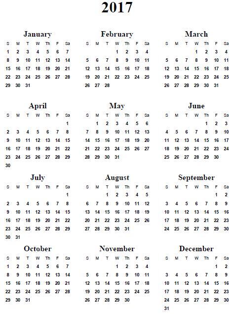 Printable Year Calendar 2017 – Printable Editable Blank Calendar 2017