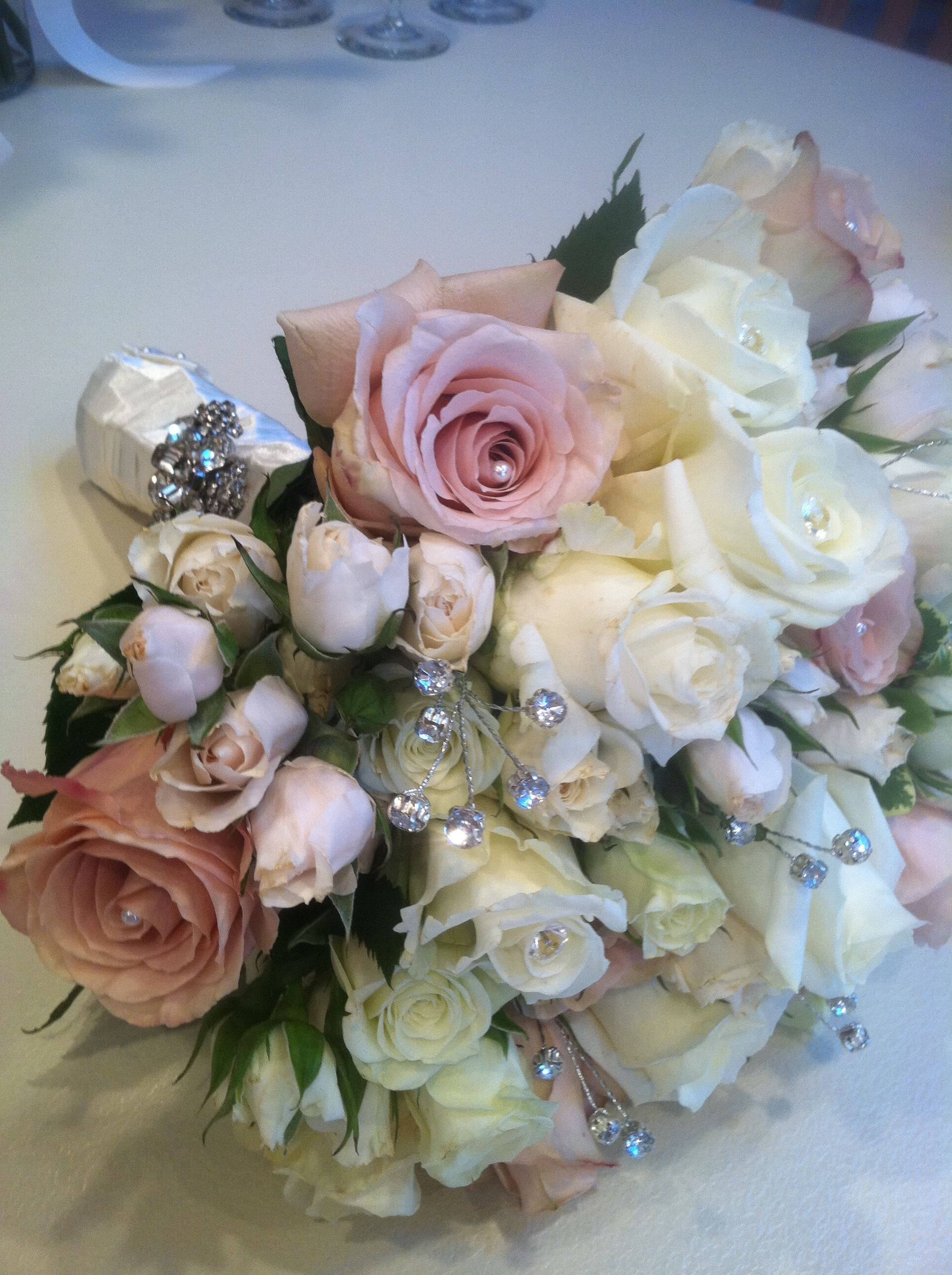 Bridal Flowers With Bling : Pearl and bling wedding bouquet love