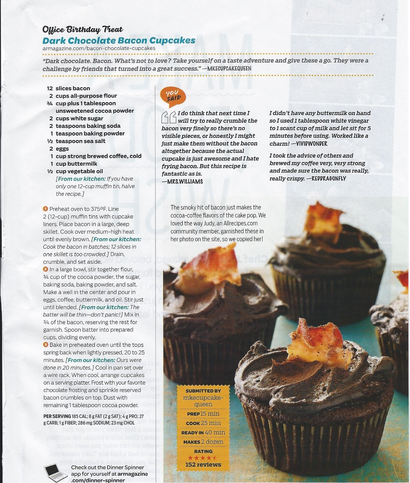 Dark Chocolate Bacon Cupcakes | Good Home Cooking | Pinterest