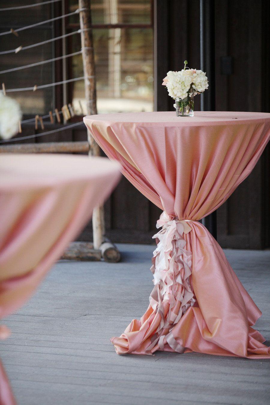 Wedding cocktail hour decor table design linens for Wedding cocktail tables decorations