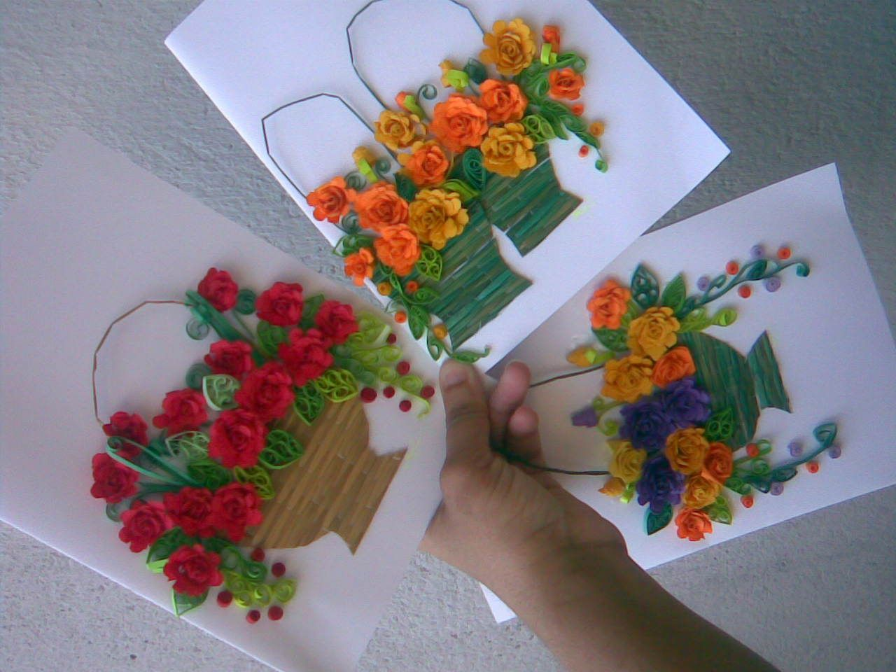 MY paper quilling flower baskets( Greeting card ...