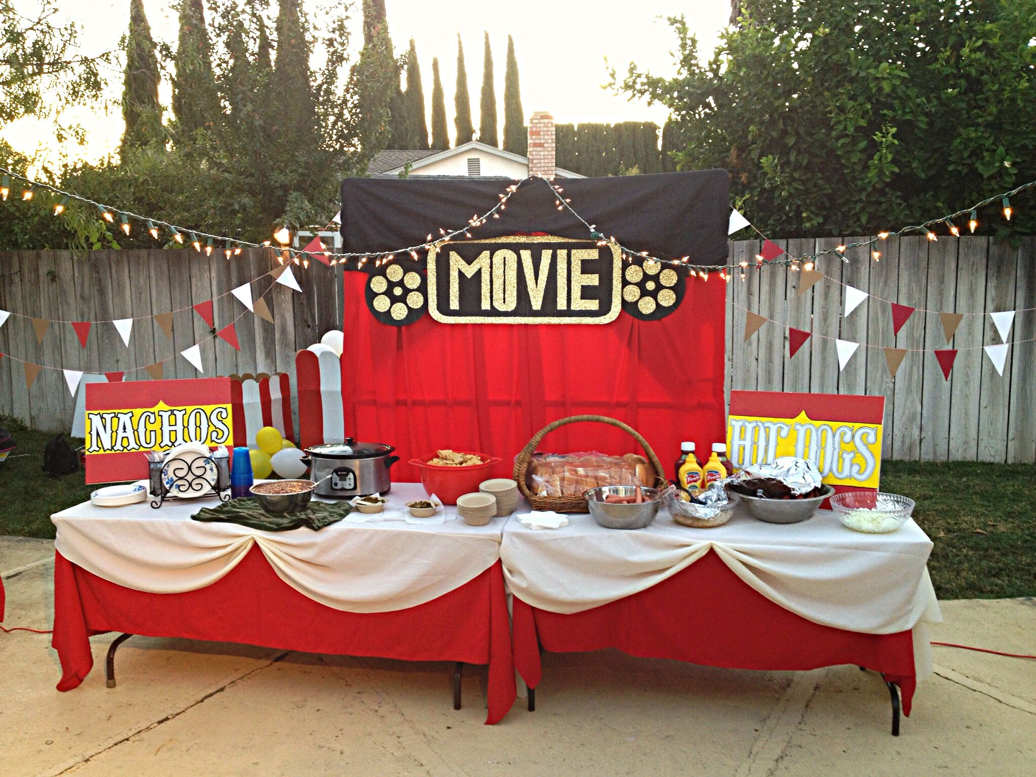 backyard movie night party movie night food tables party ideas
