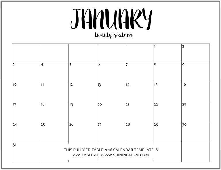 January | Printable Editable Blank