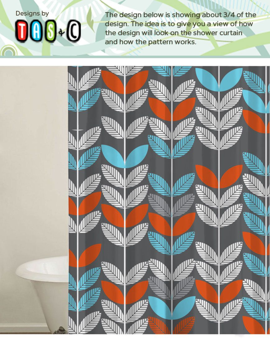 Orange and grey shower curtain