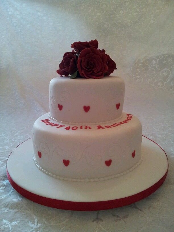 Cake Ideas For Ruby Wedding : Ruby anniversary cake cake Pinterest