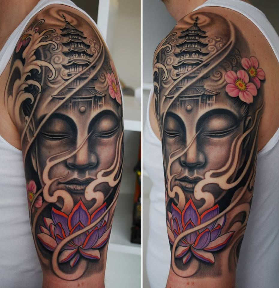 Buddha lotus face temple cherry blossom | Tattoo ...