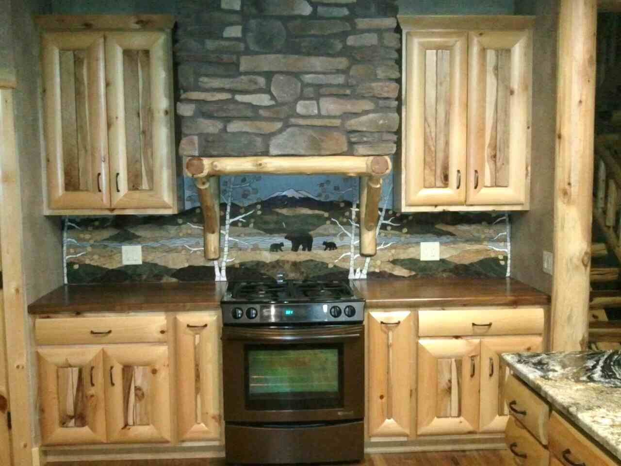 rustic kitchen love the backsplash log cabin cottage ideas