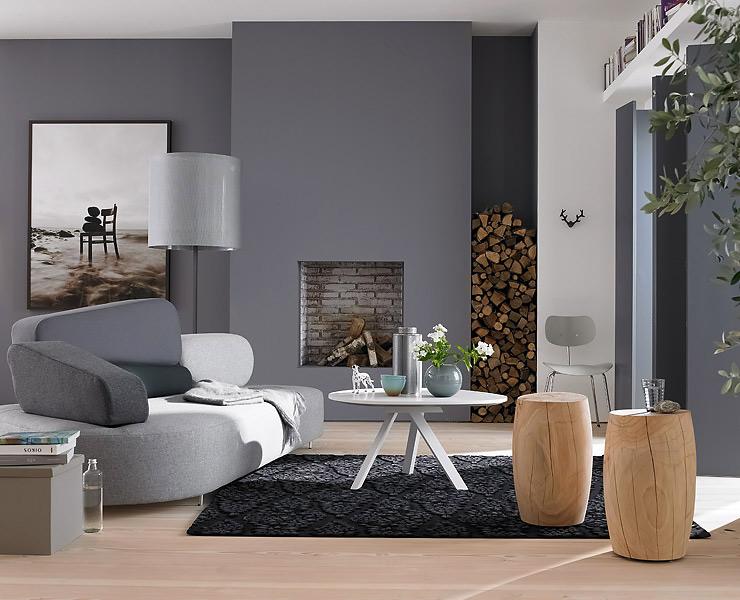 Wandfarbe wohnzimmer graues sofa