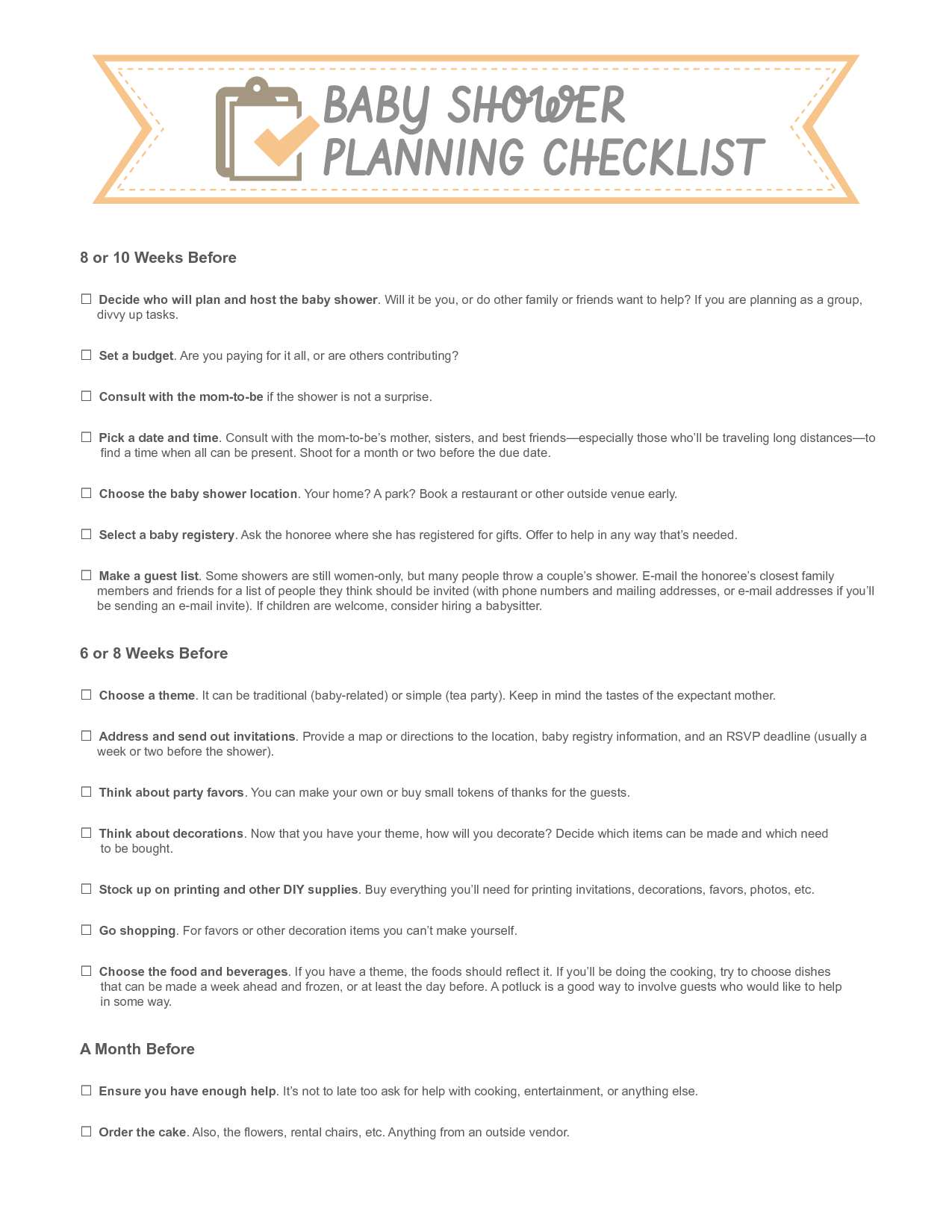 baby shower checklists solarfmtk