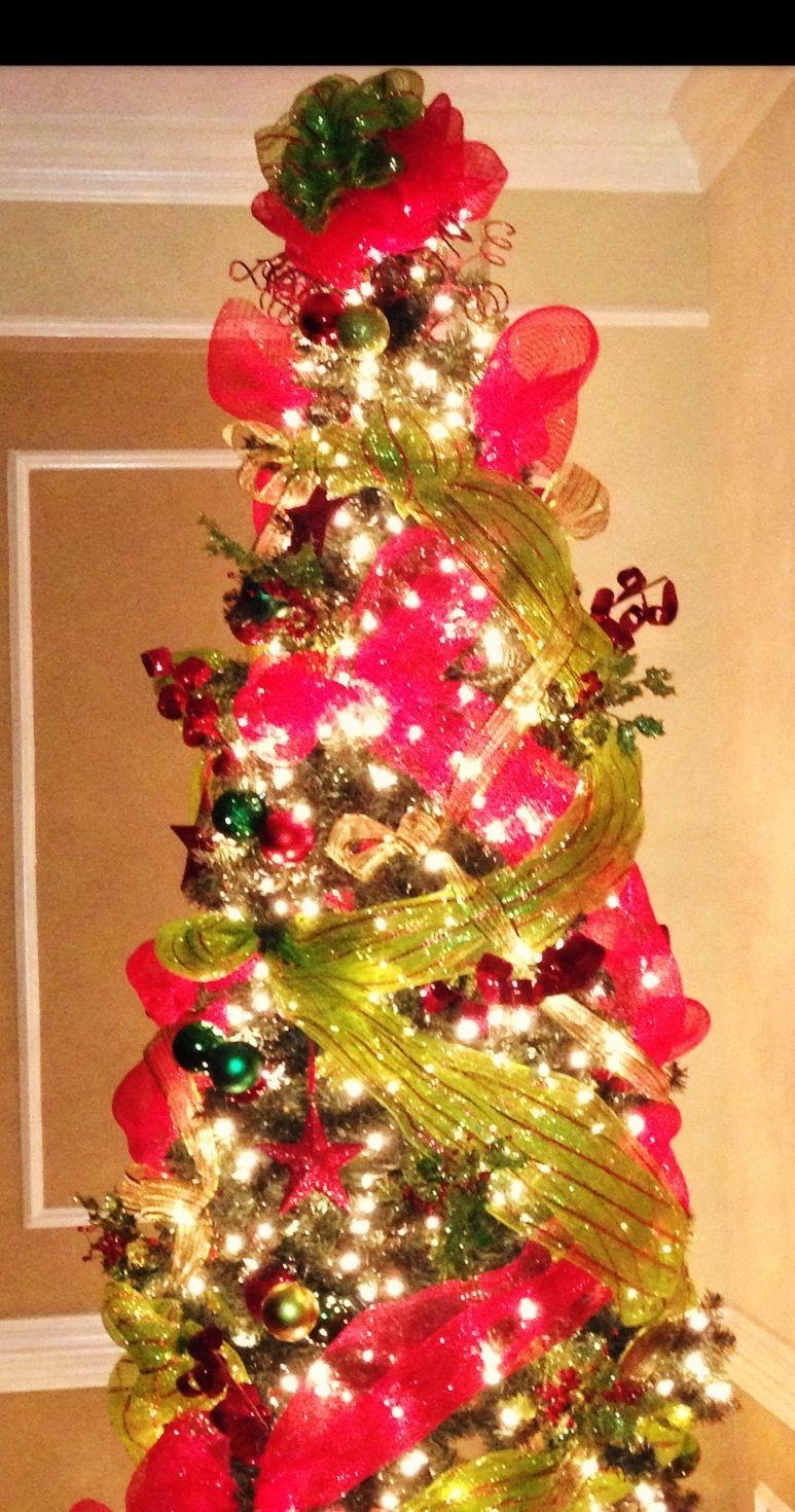 Christmas tree with deco mesh christmas decor pinterest for Deco christmas decorations