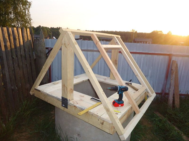Построить домик на колодец своими руками проект и чертежи