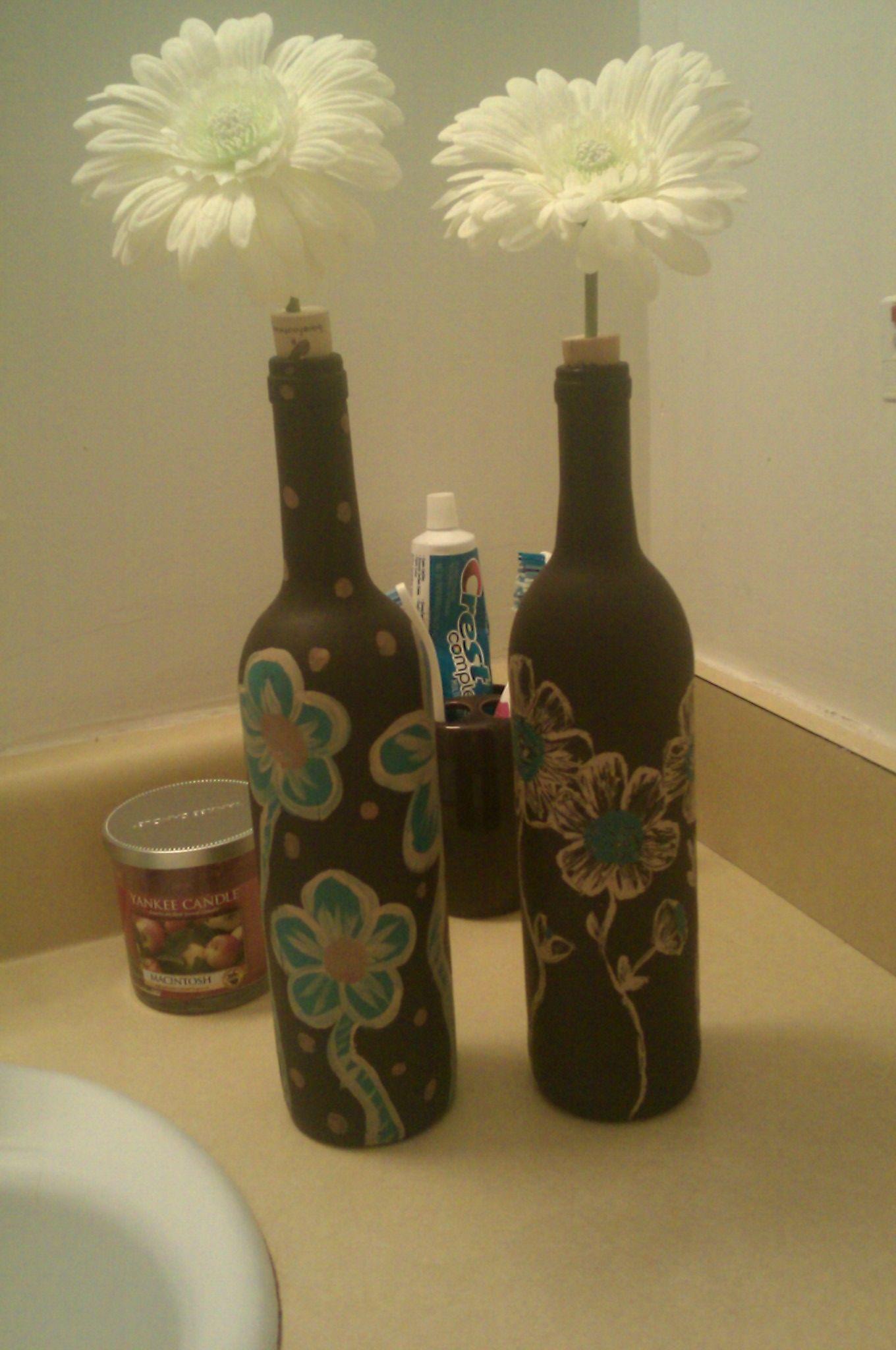 painted wine bottles winebottles pinterest