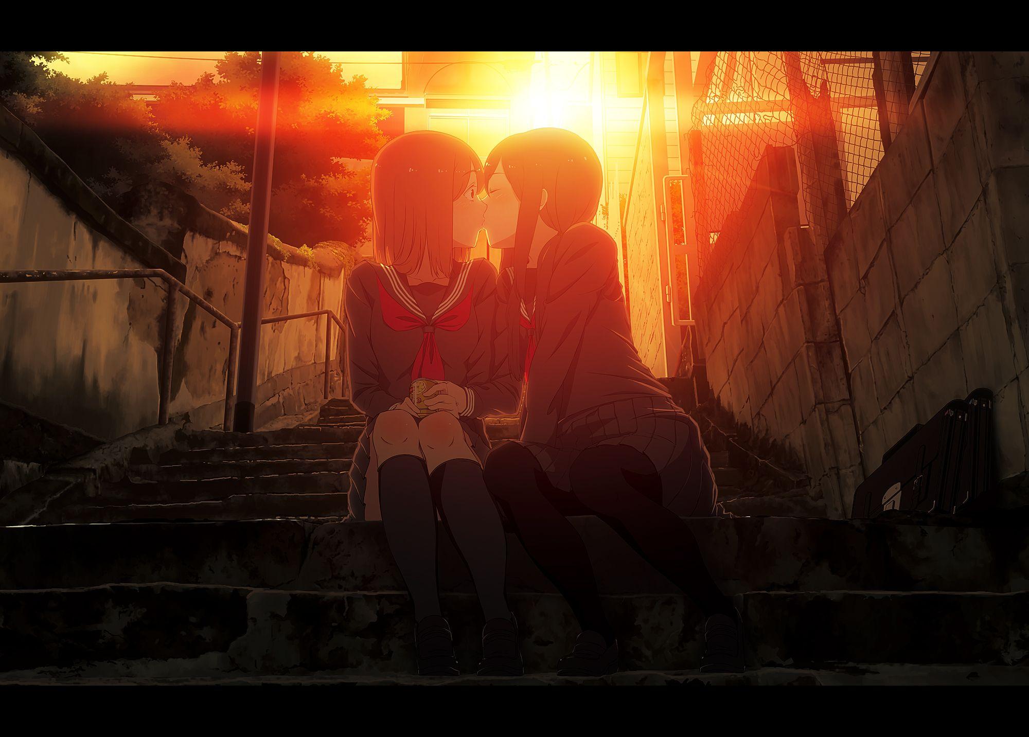 Целующиеся аниме девушки фото