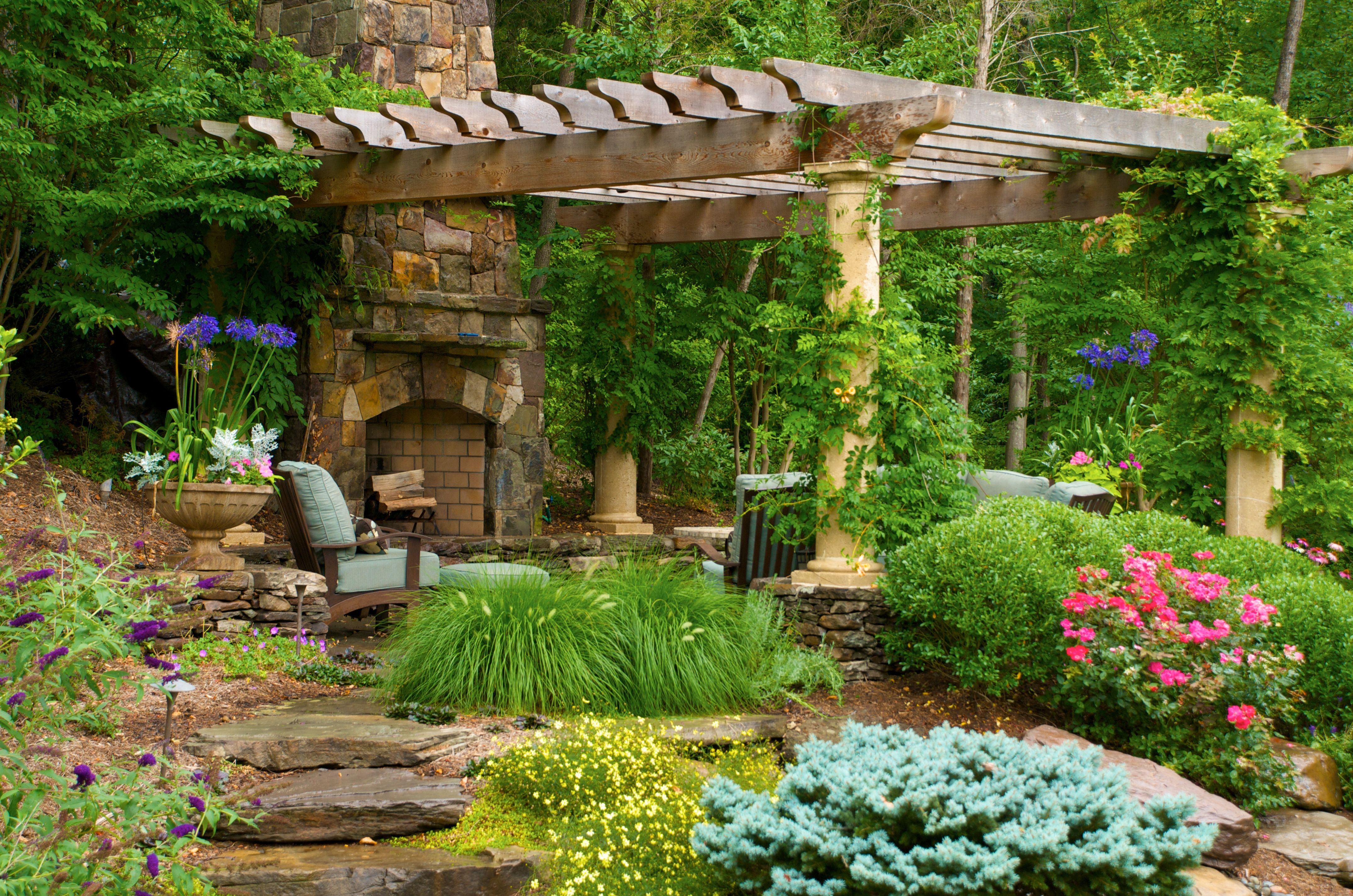 fireplace pergola outdoor places