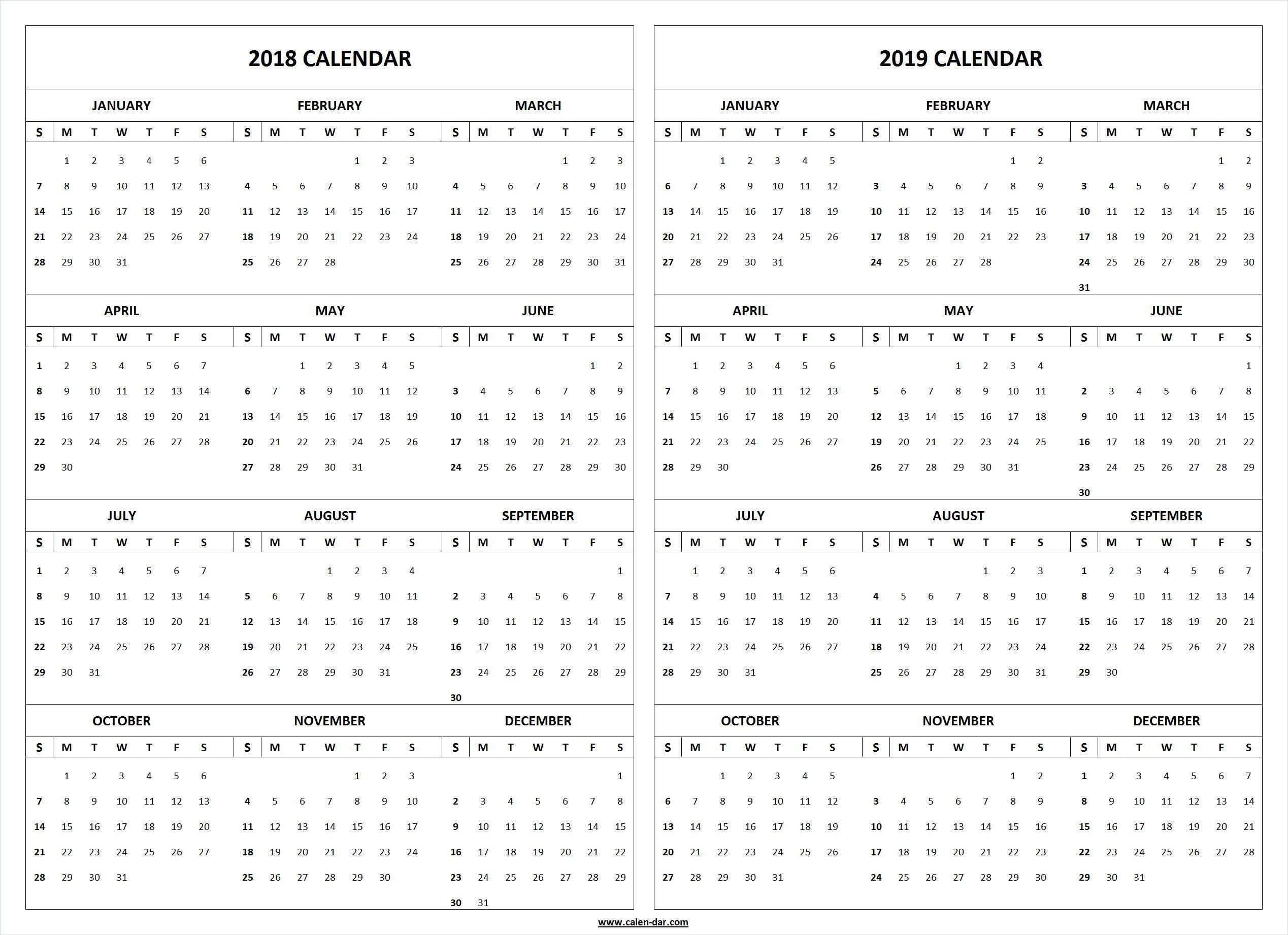 2018 2019 Calendar | Yearly Calendar | Pinterest | Yearly calendar ...
