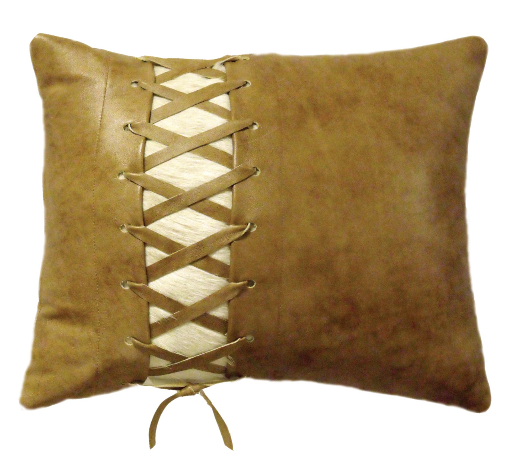 How To Make A Leather Throw Pillow : Leather Lace up pillow with hair on hide Decorative Leather Pillows?